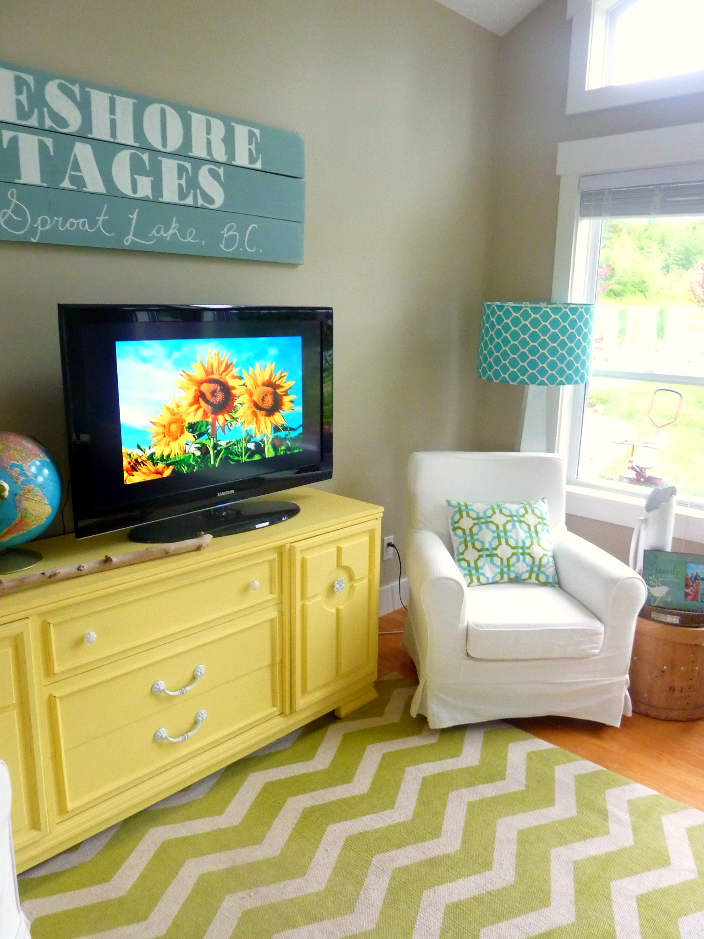 living room with diy chalk paint media console and diy reclaimed ...