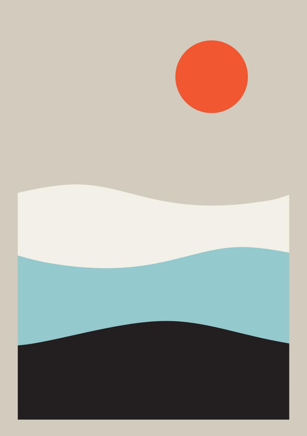 Sunset Art Print Sunrise Geometric Landscape Sea Prints Printed Poster Ocean Print Large Poster Nursery Decor 24x36 24 X 36 Art With Images Sunset Art Ocean Print Poster Prints