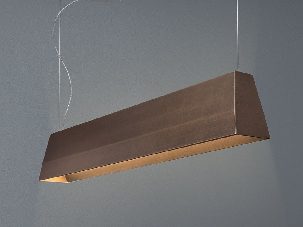 Led Direct Indirect Light Aluminium Pendant Lamp Blonde By Quadrifoglio