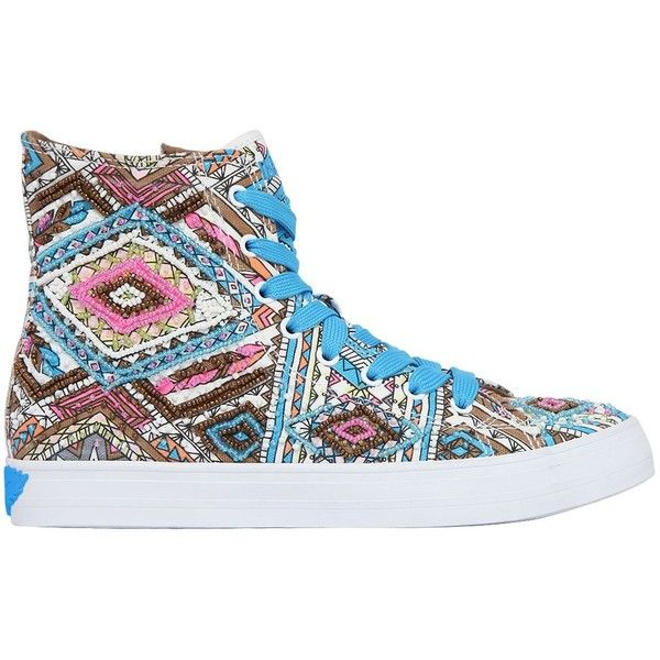 Lk Women Embellished Canvas High Top Sneakers ($120) ❤ liked on Polyvore featuring shoes, sneakers, multicolor, hi tops, canvas sneakers, rubber sole shoes, velcro high-top sneakers and canvas high tops