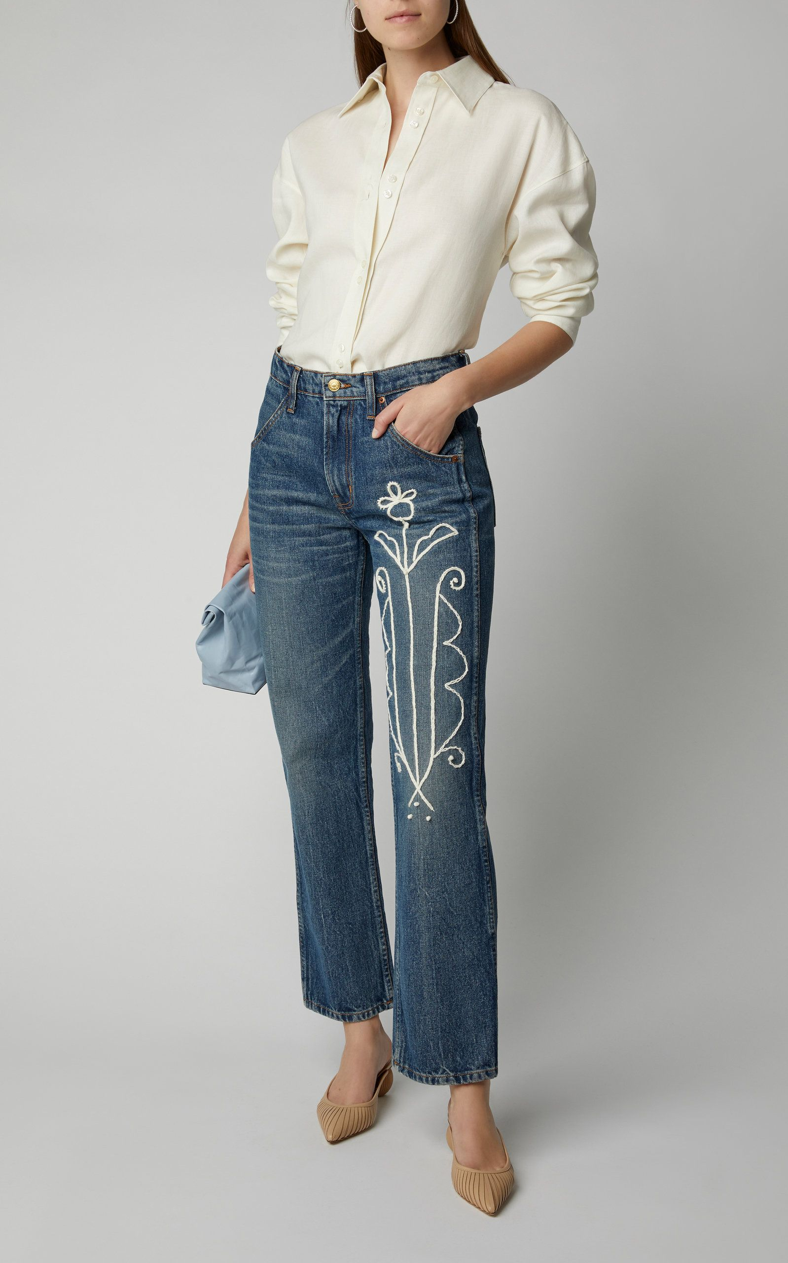 B Sides Georgia Embroidered High Rise Straight Leg Jeans Denim Inspiration Straight Leg Jeans Clothes For Women