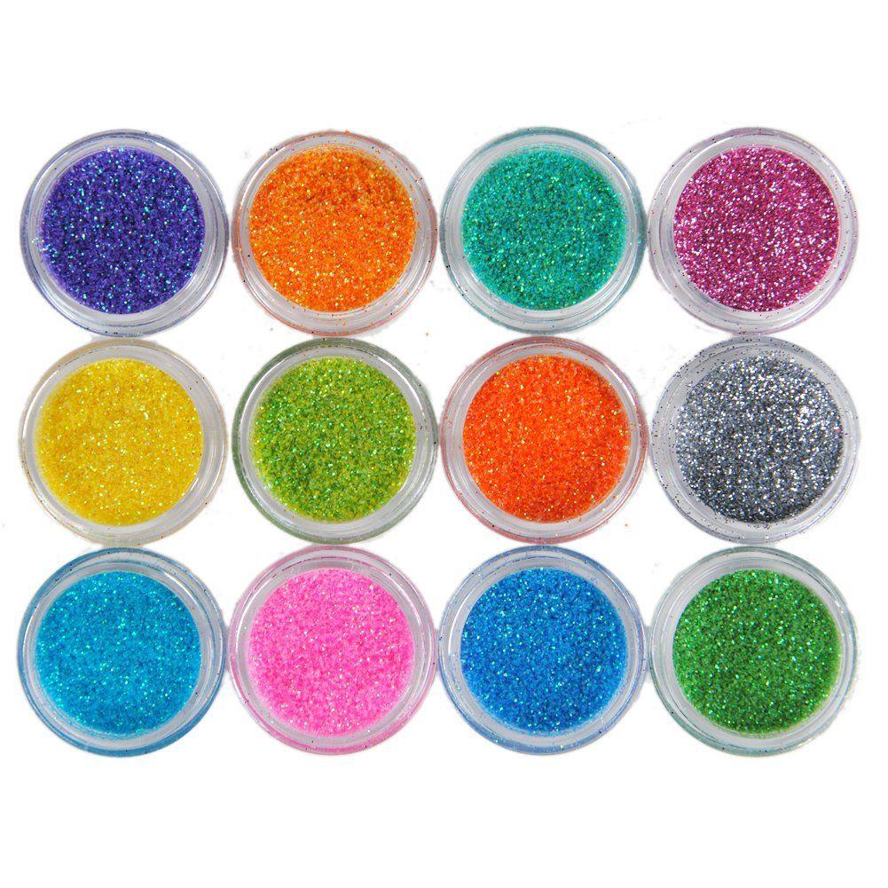 Fashion Gallery 12 Color Shiny Glitter Nail Art Tool Kit Acrylic UV ...