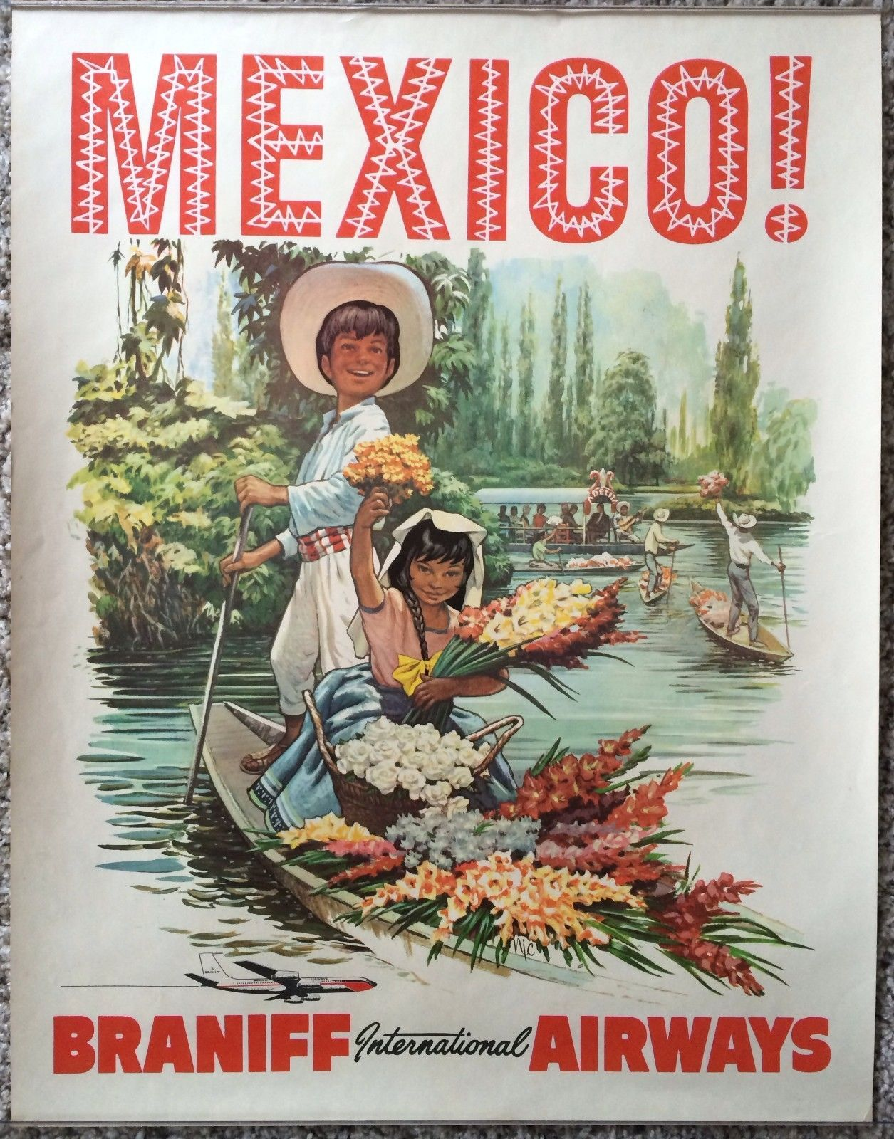 Mexico Fly Air Mexican Latin America Vintage Travel Advertisement Art Poster