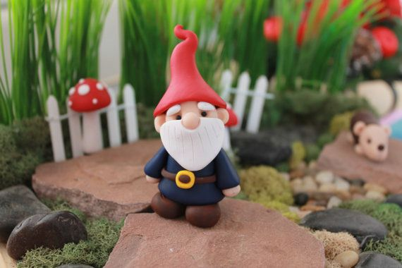 Gnome In Garden: Polymer Clay Traditional Gnome