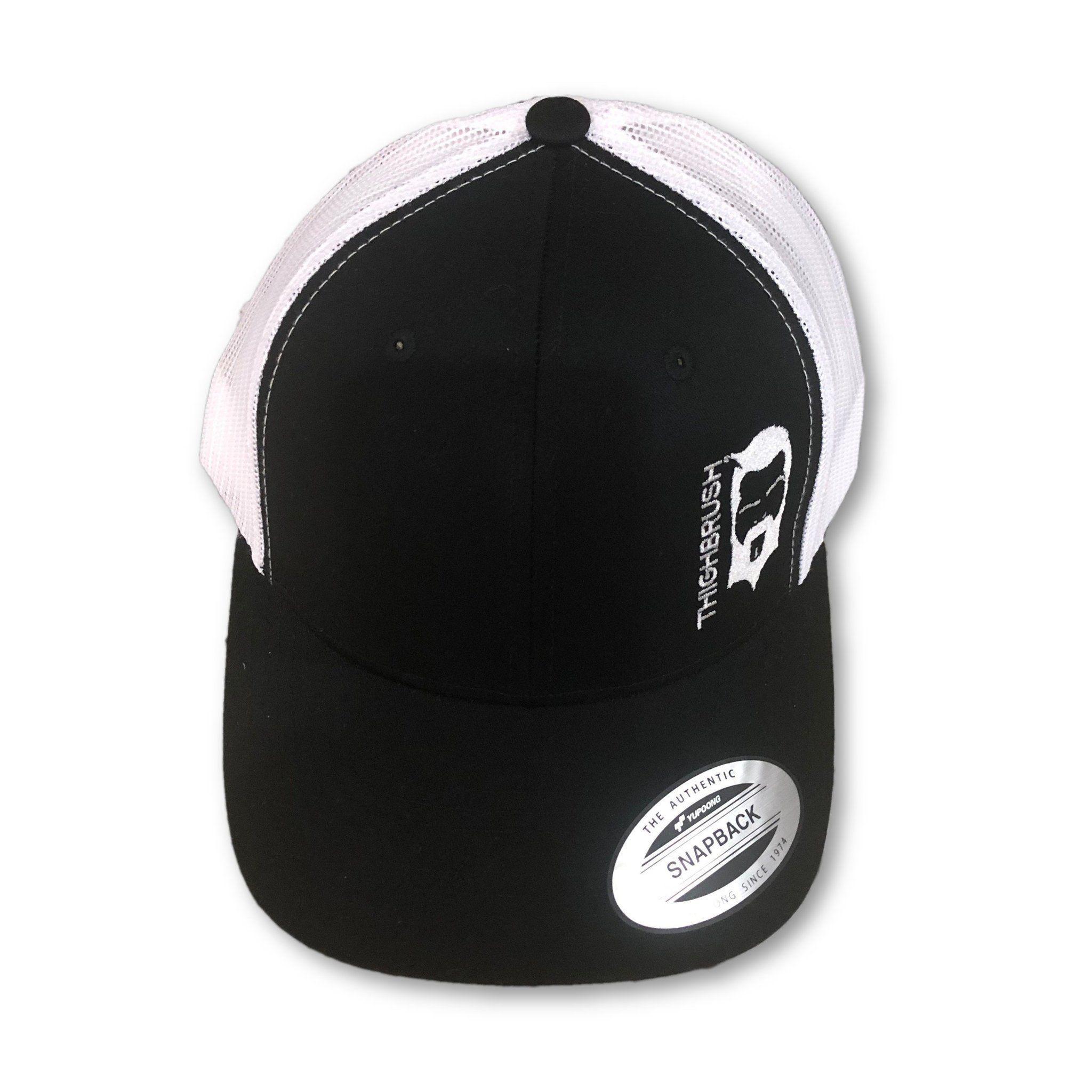 64bf194a303 THIGHBRUSH - Trucker Snapback Hat - Black and White - White Logo ...