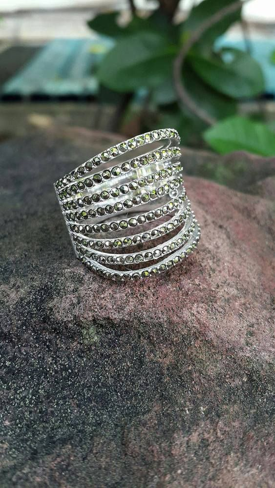 925 Sterling silver marcasite ring handmade women ring knuckle stylish size 8 #Handmade #Cocktail