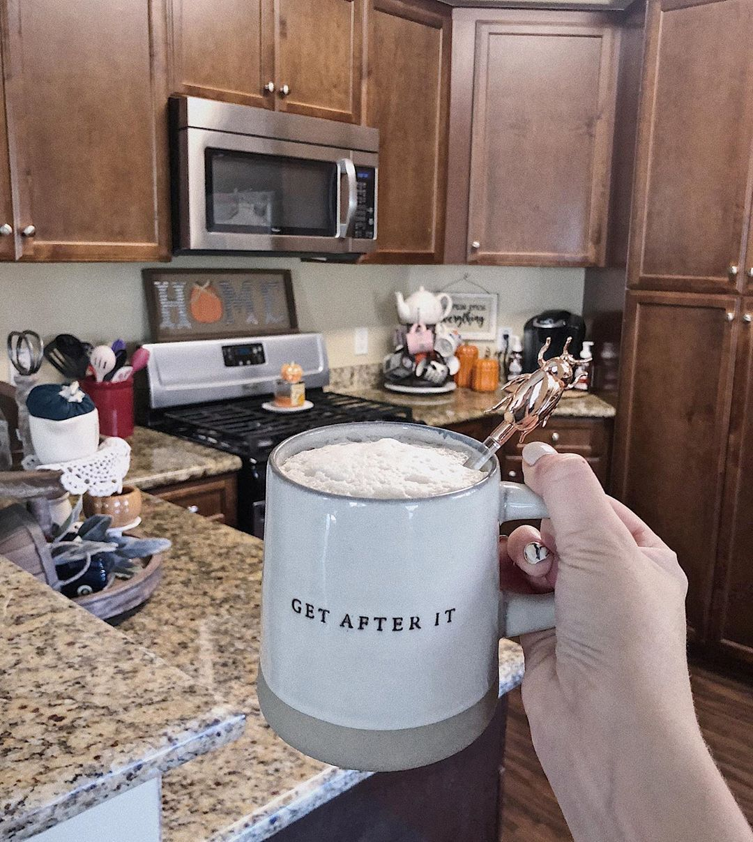 This might be more of a Monday morning mug, but its fineee! Stole my husbands coffee for this picture! (It actually tasted really good though) The kitchen is still a work in progress as far as fall decor goes, but its okay! Im taking today to relax and watch football! Happy Sunday! .....#decor