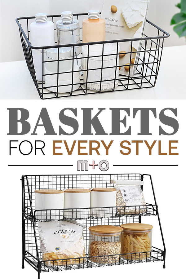 Baskets and storage options for all decor styles.  Farmhouse, modern, rustic, minimalistic and pink/blush rose gold accent pieces for your home! #WhiteHomeDecor #homedecor #modernhomedecor #whitedecor #modernfarmhouse #minimalisticdecor