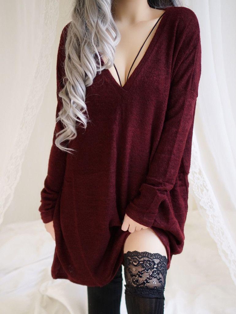Kristi Knitted Oversized Sweater Dress (Maroon)  f81f53cdf