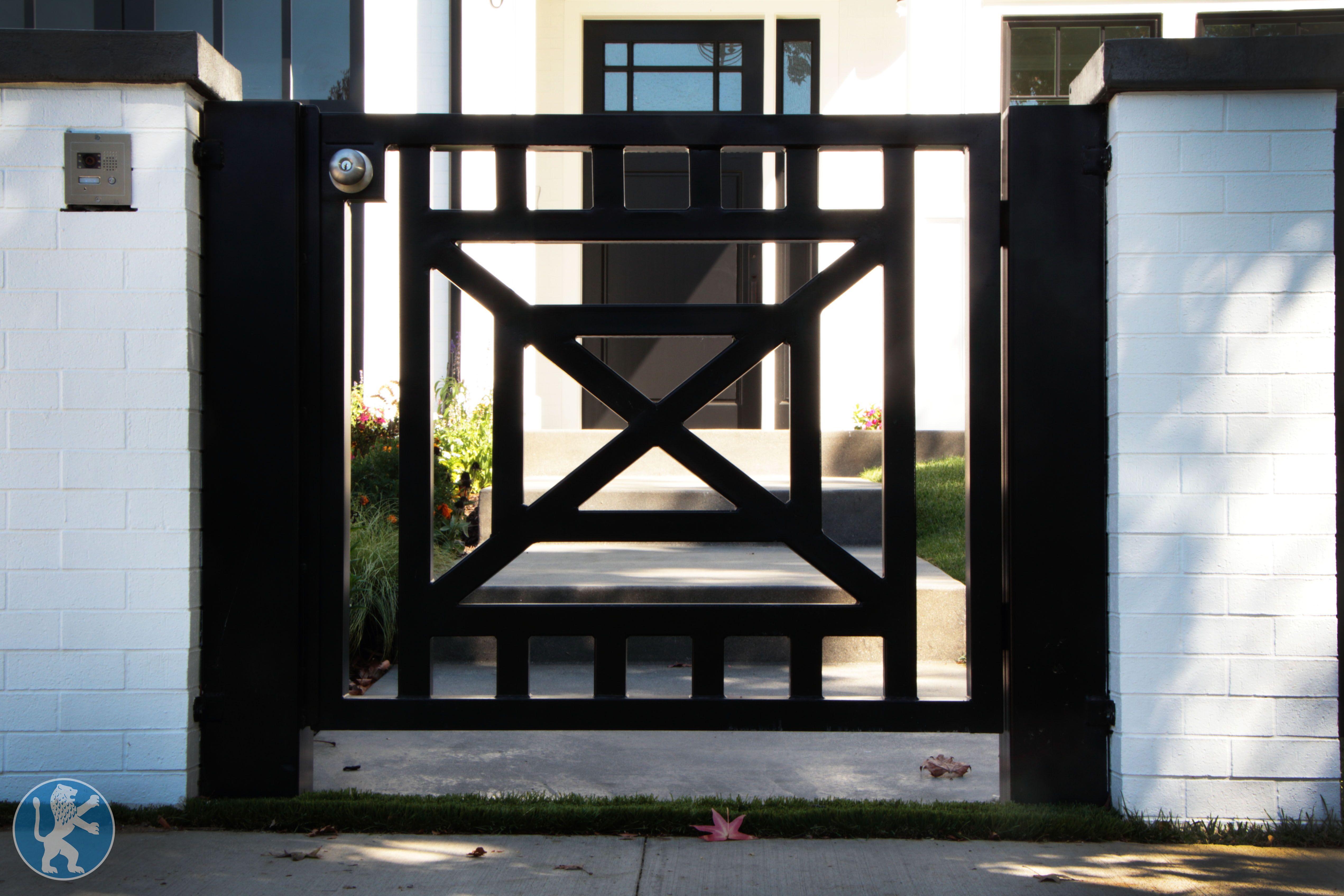 This Modern Design Custom Iron Entry Gate Features A Vertical Bar