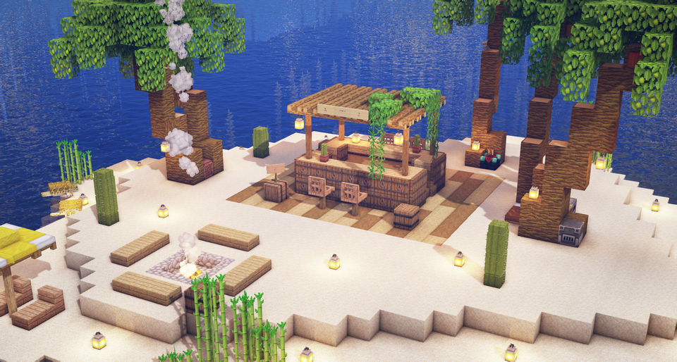 Tiki Bar On A Tropical Island Minecraft Minecraft Decorations