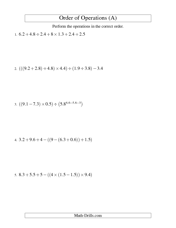 Order of Operations Worksheet -- Decimals Order of Operations -- Six ...