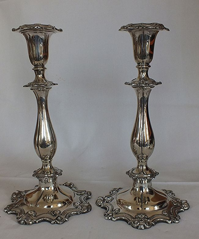 Early Victorian Sheffield Silver Plated Candlesticks - Henry Wilkinson Sheffield & Early Victorian Sheffield Silver Plated Candlesticks - Henry ...