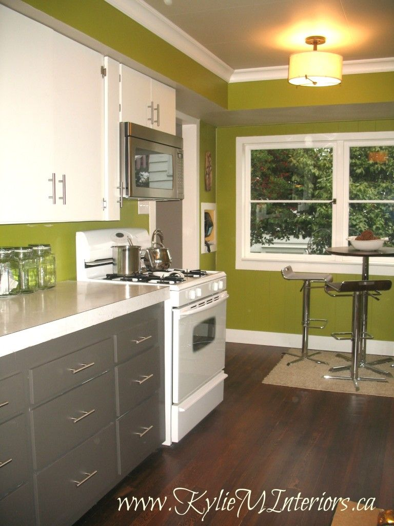 painted 1950\'s kitchen cabinets, amherst gray, cloud white, dark ...
