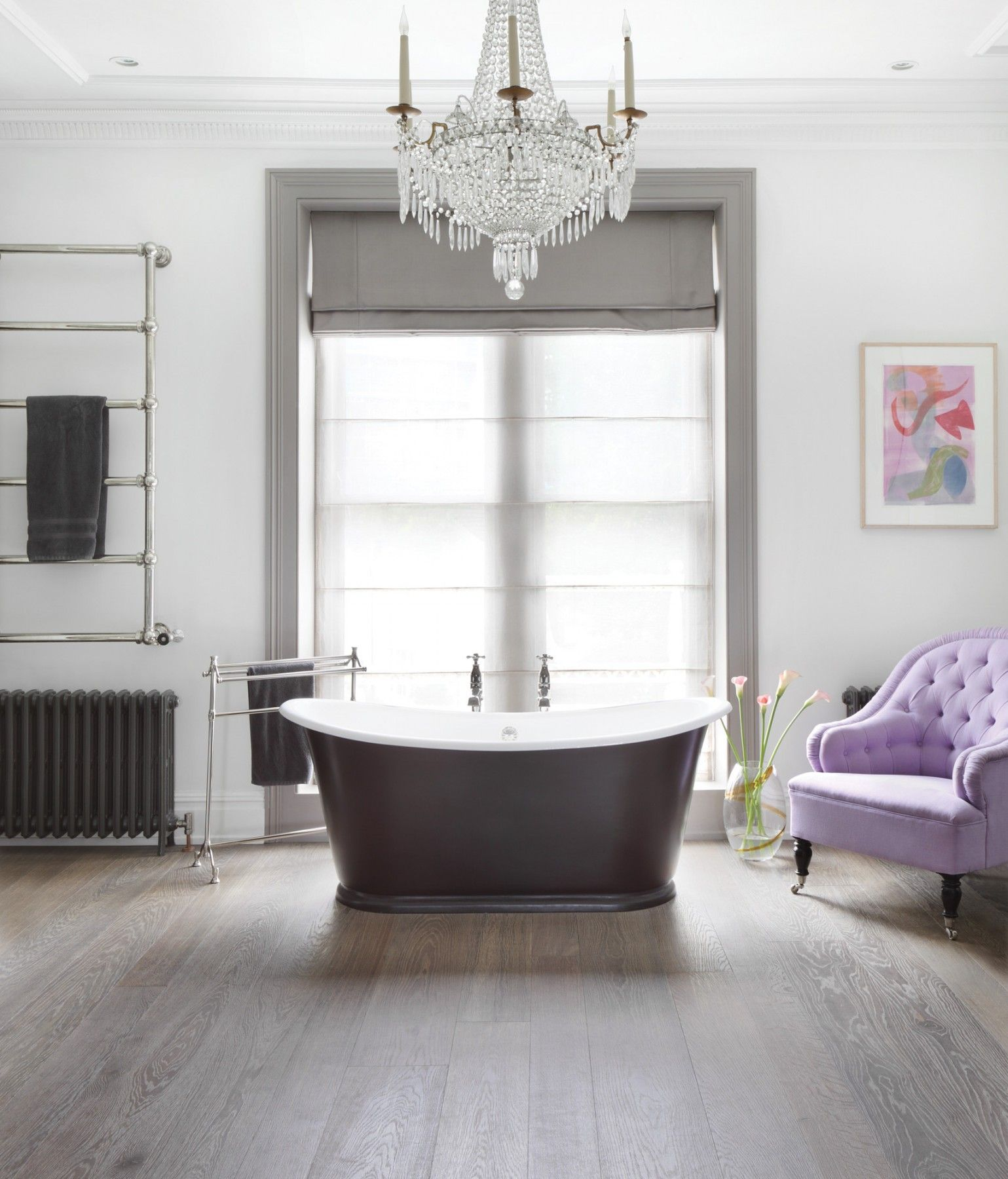 Ash Grey Oak Engineered Wood Flooring Makes The Perfect Backdrop For This Elegant Bathroom