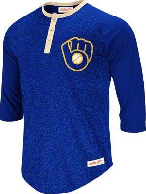 huge discount b051b 5f80f Milwaukee Brewers Royal Mitchell & Ness Henley T-Shirt. LOVE ...