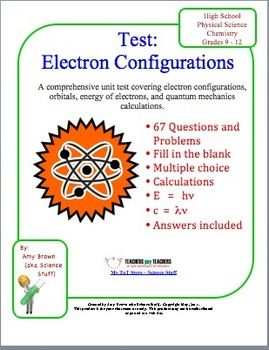 Electron Configuration / Quantum Test | HighSchoolHerd com