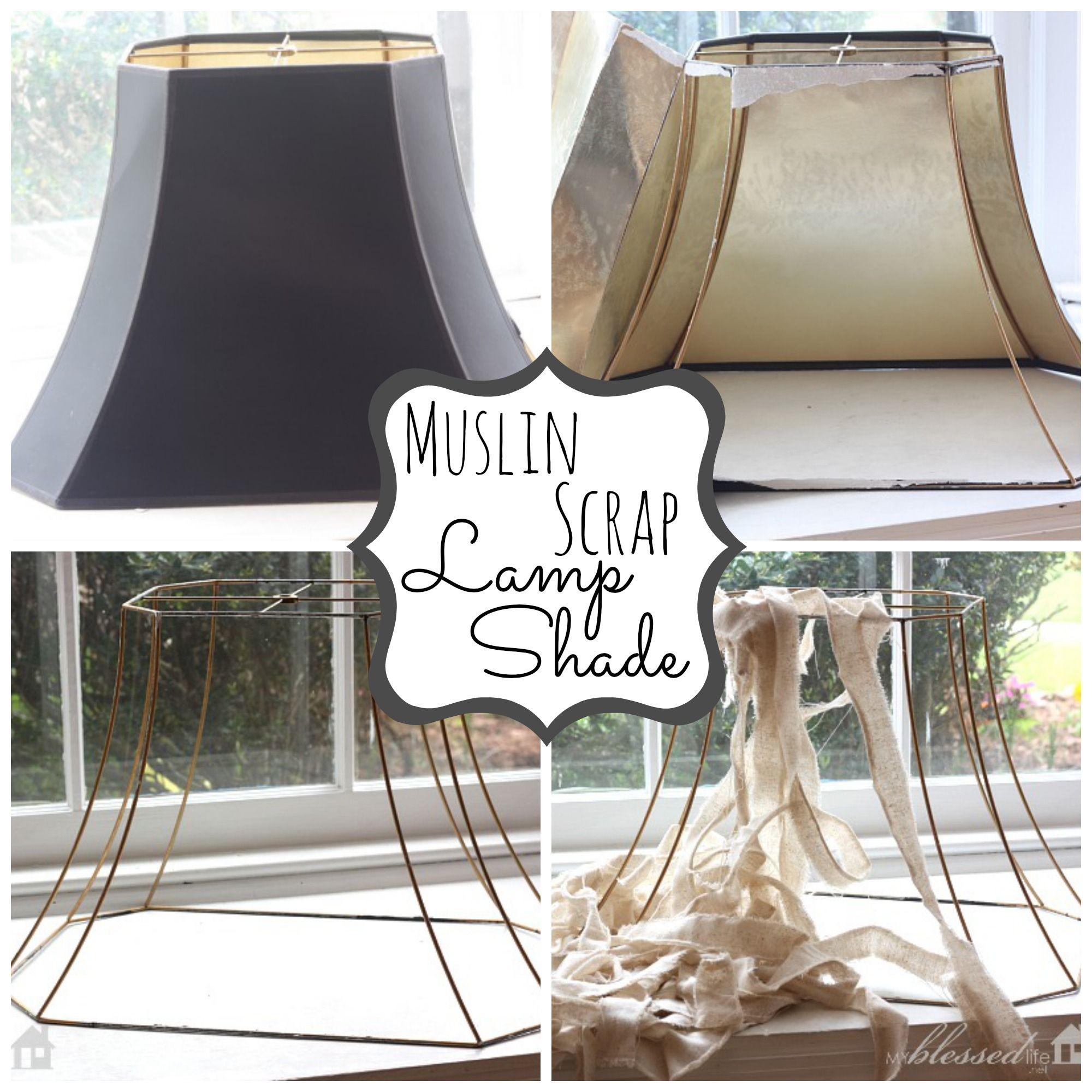 Lamp Shade Makeover | MyBlessedLife.net | Fabric Strip lamp shade ...