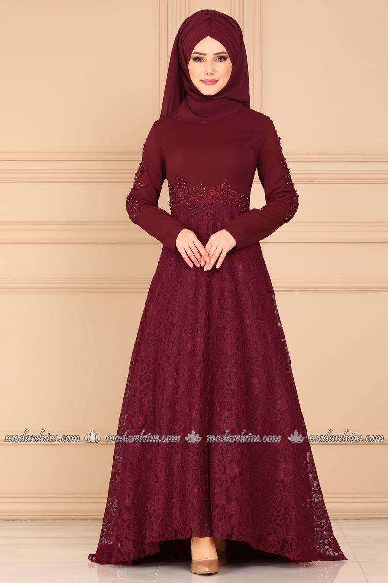 Moda Selvim Dantelli Kuyruklu Abiye 5052ay342 Bordo Baju Pengantin Pengantin