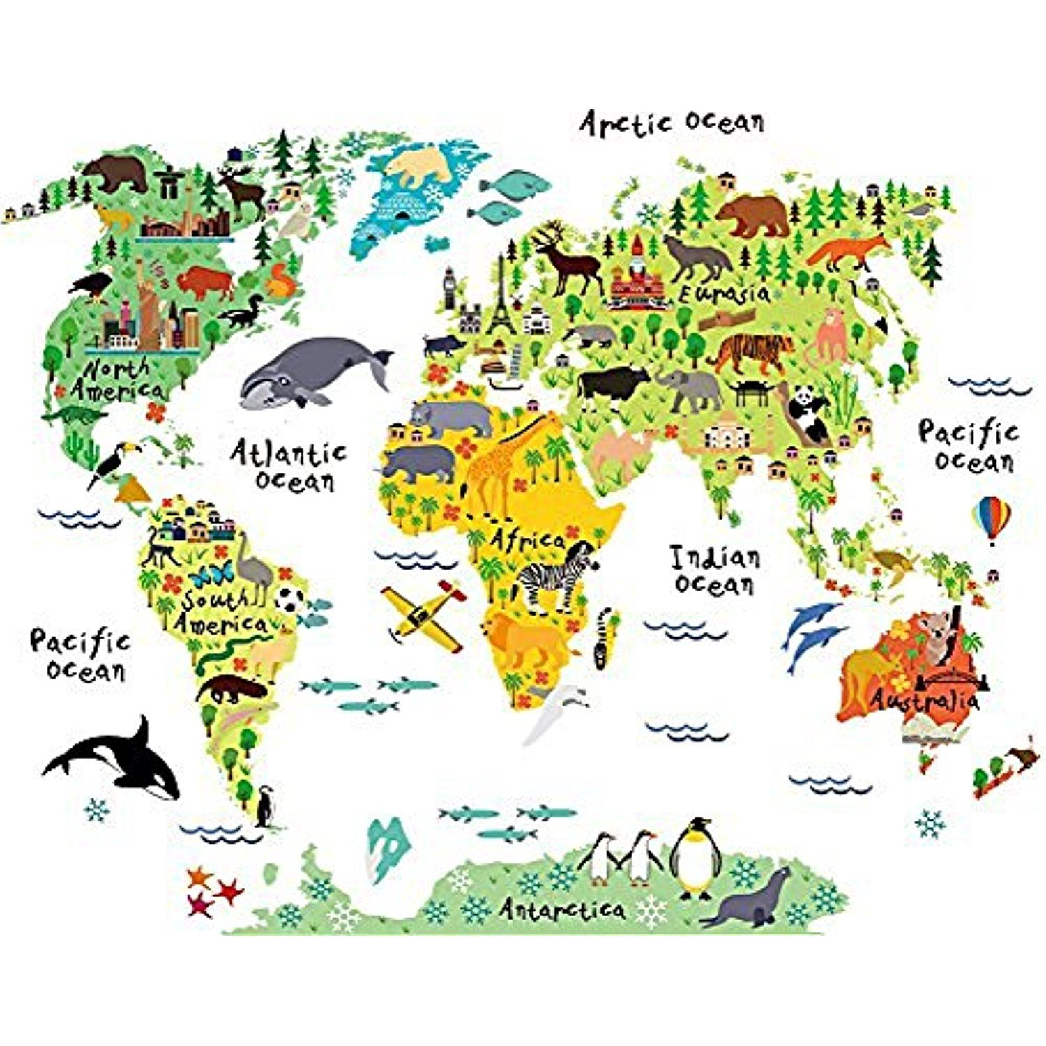 Rurah Wall Mural ,Multicolor Animals World Map Wall Decal Sticker ...