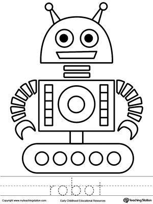 Robot Coloring Page And Word Tracing Boyama Sayfalari Okul