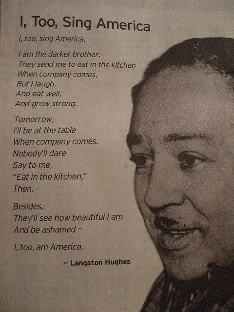 I, Too, Sing America Langston Hughes Poem, Black