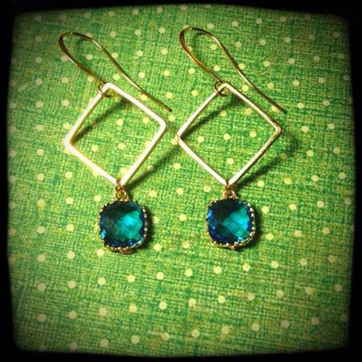 Cushion Cut Framed Sapphire Earrings by FourSquaredDesigns on Etsy, $23.00