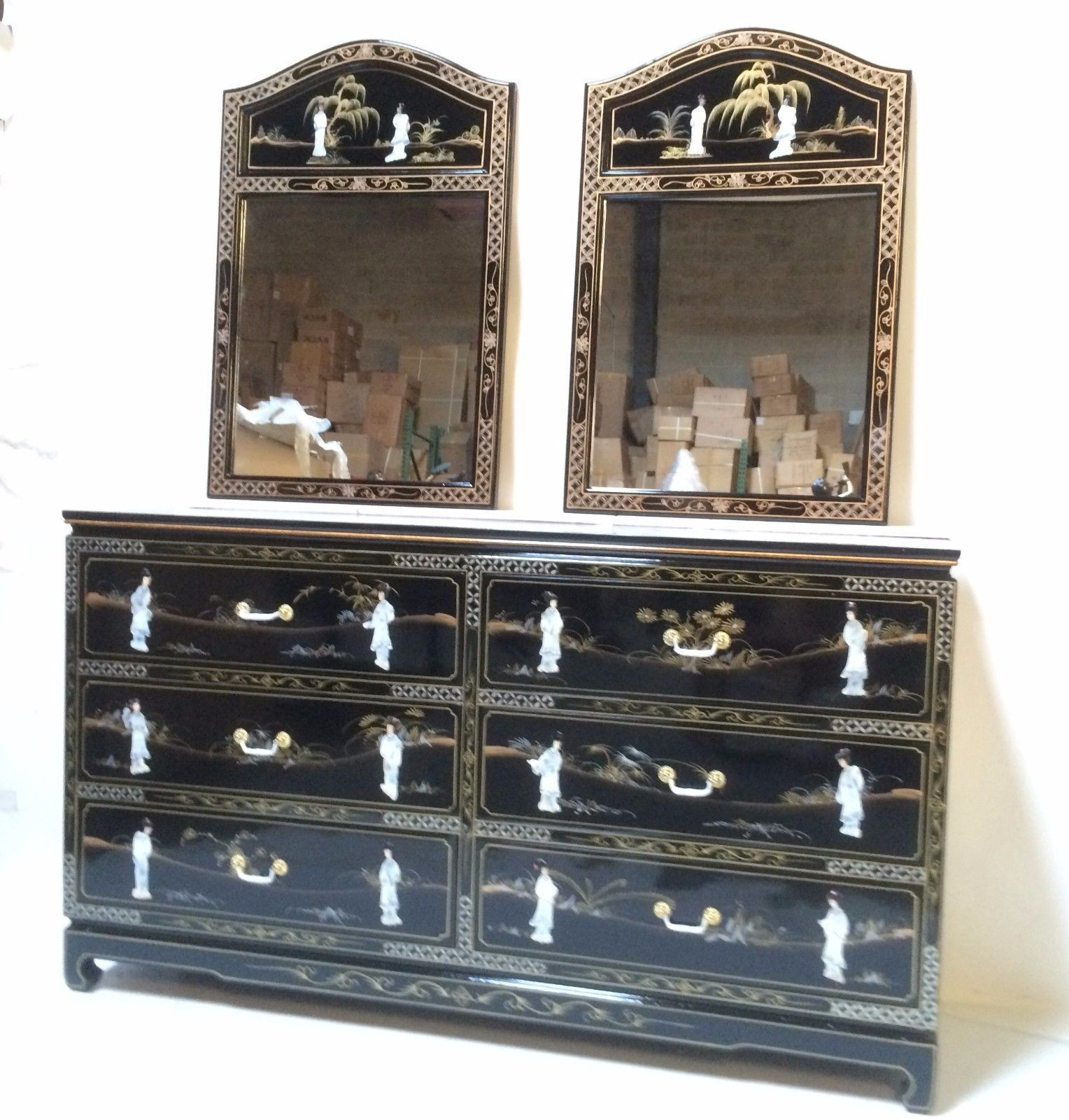 oriental Dresser furniture black lacquer mother of pearl for bed
