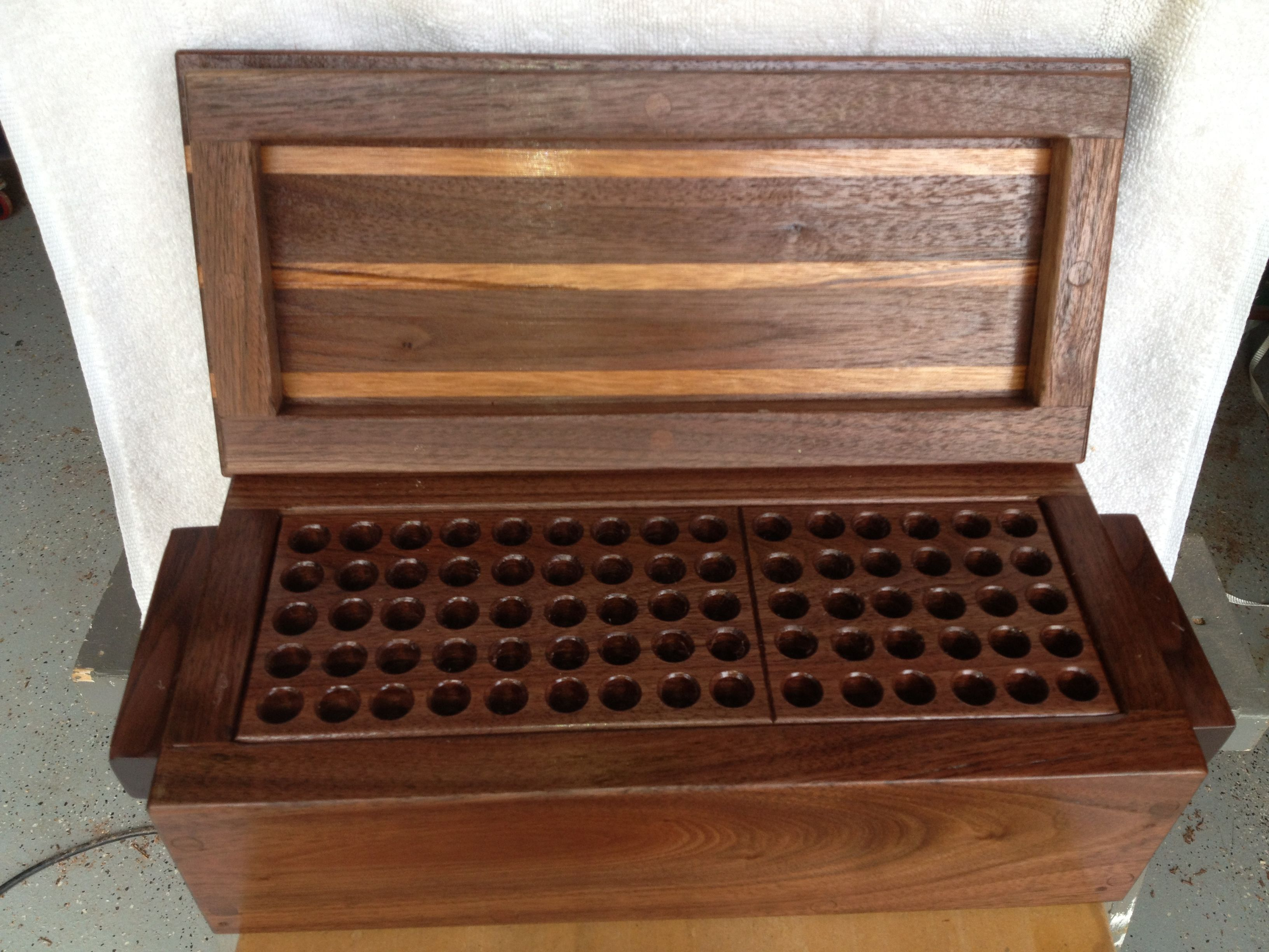 Custom Bullet Box Walnut Wtiger Wood Strips