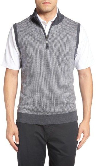 Bobby Jones Quarter Zip Herringbone Merino Wool Sweater Vest ...