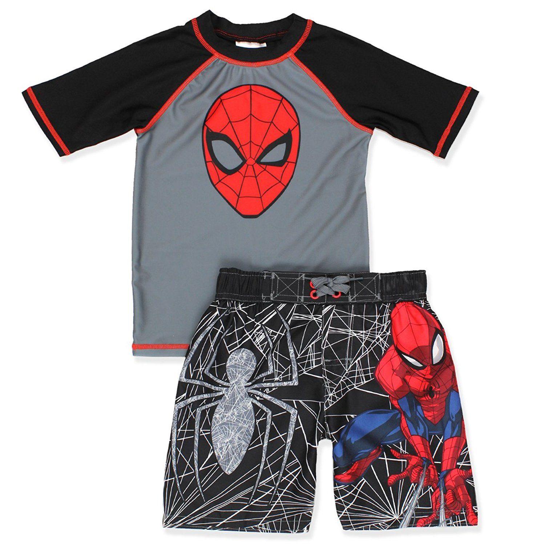 2 Piece Infant Boys Print Swim Set Swimwear Top Shorts 2-3 Yrs, Spiderman