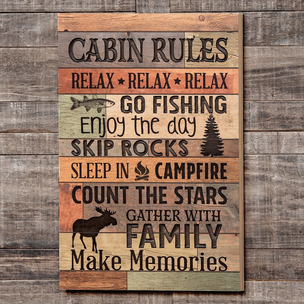 Photo of Cabin Rules Carved Wood Wall Art