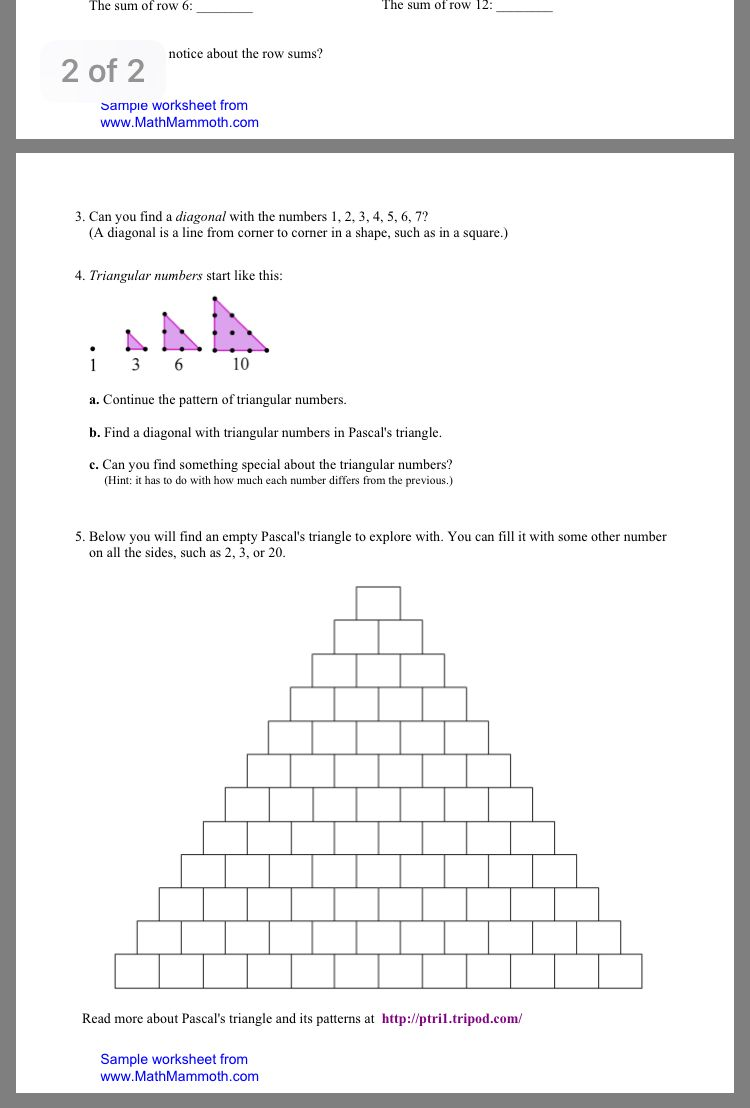 Pin By Kristen Vecchio On Grade 5 Patterning Triangular Numbers Pascal S Triangle Pattern