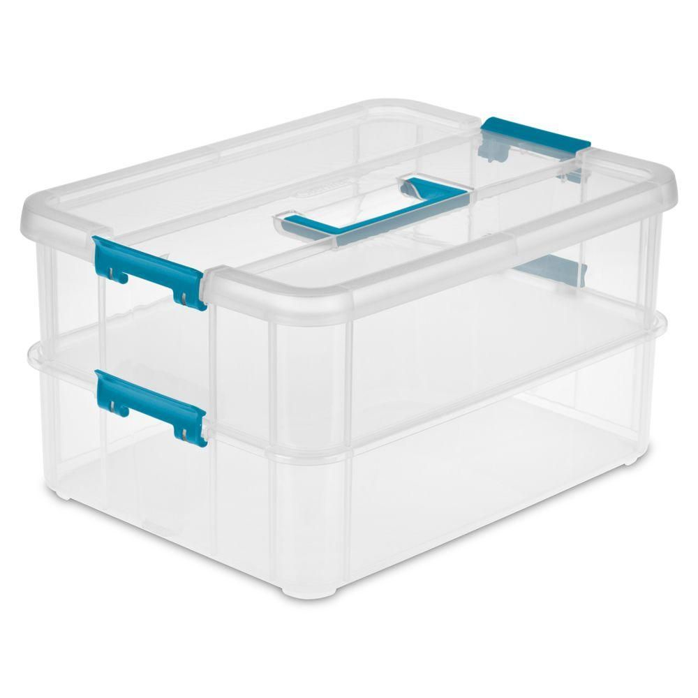 Sterilite Stack And Carry 2 Layer Storage Organizer 14228604 Storage Storage Tubs Plastic Box Storage
