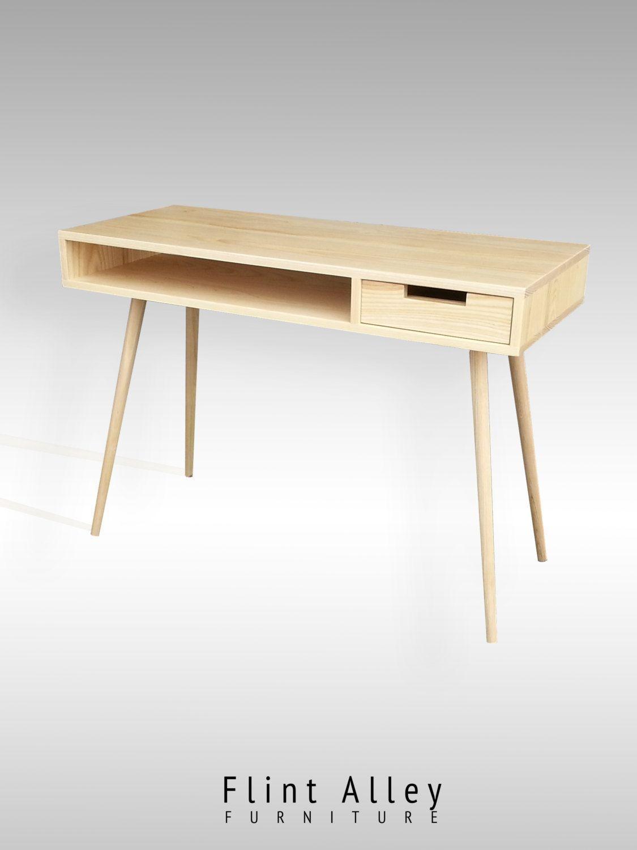 Amazon Com Bonny Wood Desk Mid Century Modern For Home Office Small Writing Station Kitchen D Solid Wood Desk Mid Century Desk Mid Century Writing Desk