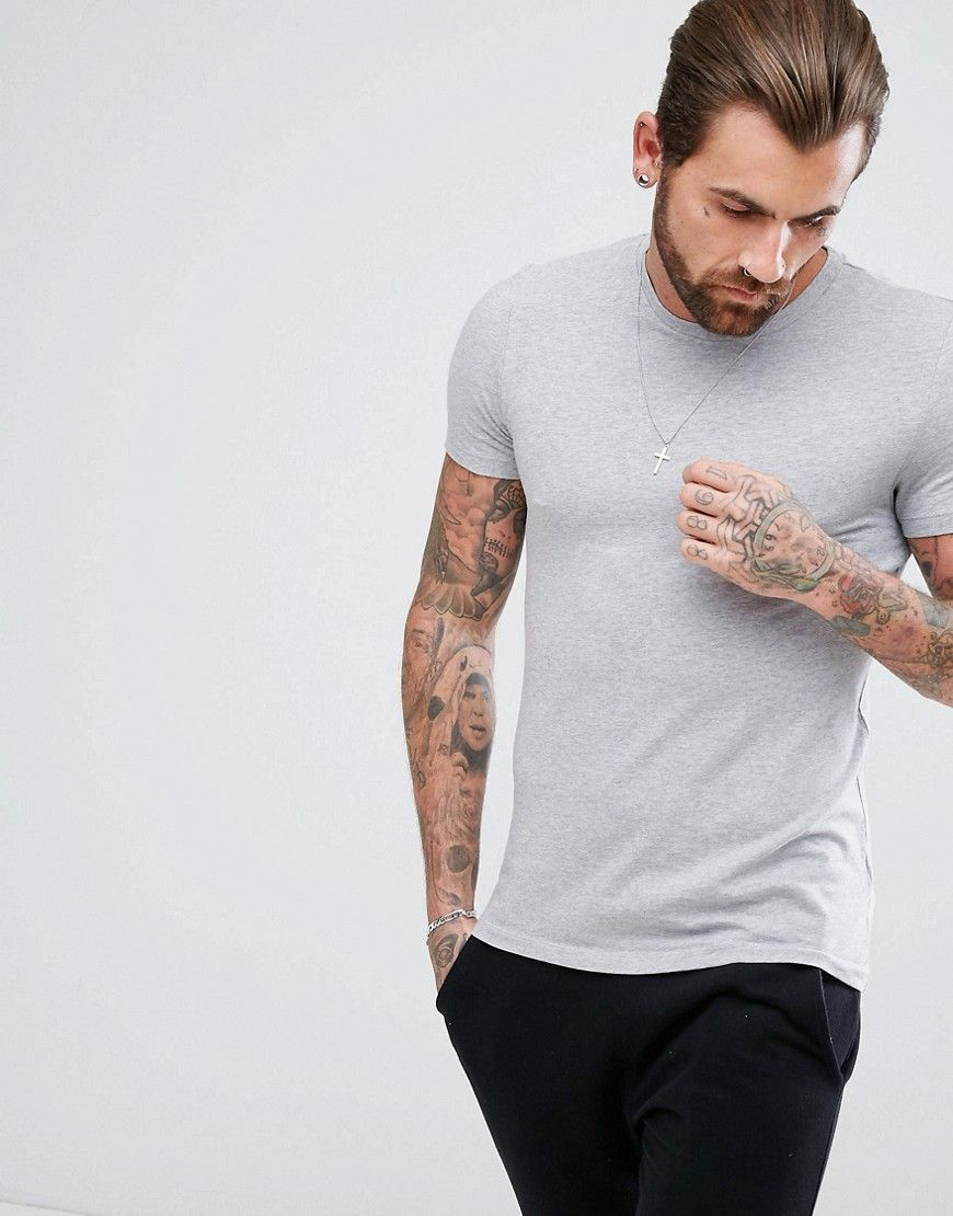 caba39a05 DESIGN muscle fit crew neck t-shirt in gray | Mens Fashion | T shirt ...