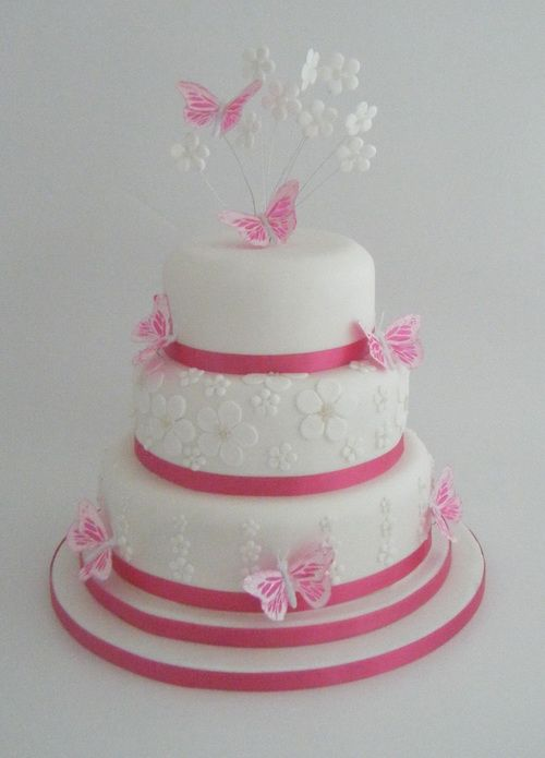 Best Pink Wedding Cakes With Butterfly