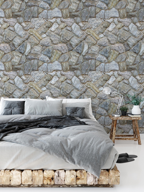Gray Rustic Farmhouse Stone Wallpaper Brick Wall Wallpaper Etsy Brick Wall Wallpaper Stone Wallpaper Brick Wallpaper Mural
