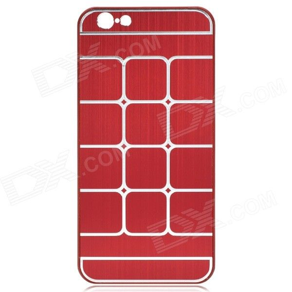 Plaid Pattern Aluminum Alloy + Plastic Back Case for IPHONE 6 4.7 - Deep Red