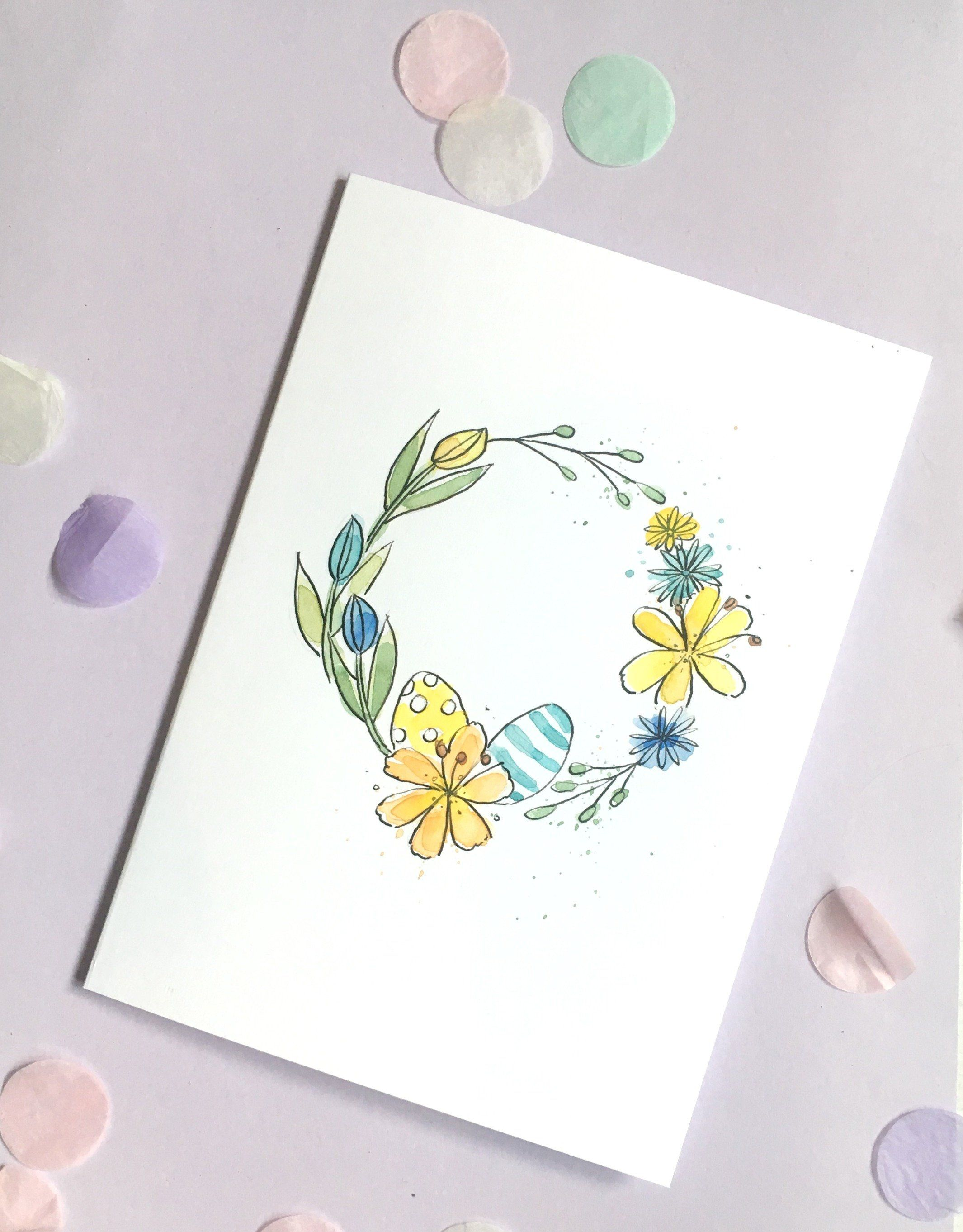 Photo of Spring Floral Wreath Card – Hand Painted Easter Card –  A5 Floral Watercolour, Flower Card
