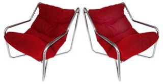 1970s Chrome Sling Chairs, Pair