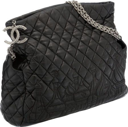 d107ff0b386a Chanel Paris-Moscow Black Quilted Lambskin Leather Bag with Twisted Silver  Chain
