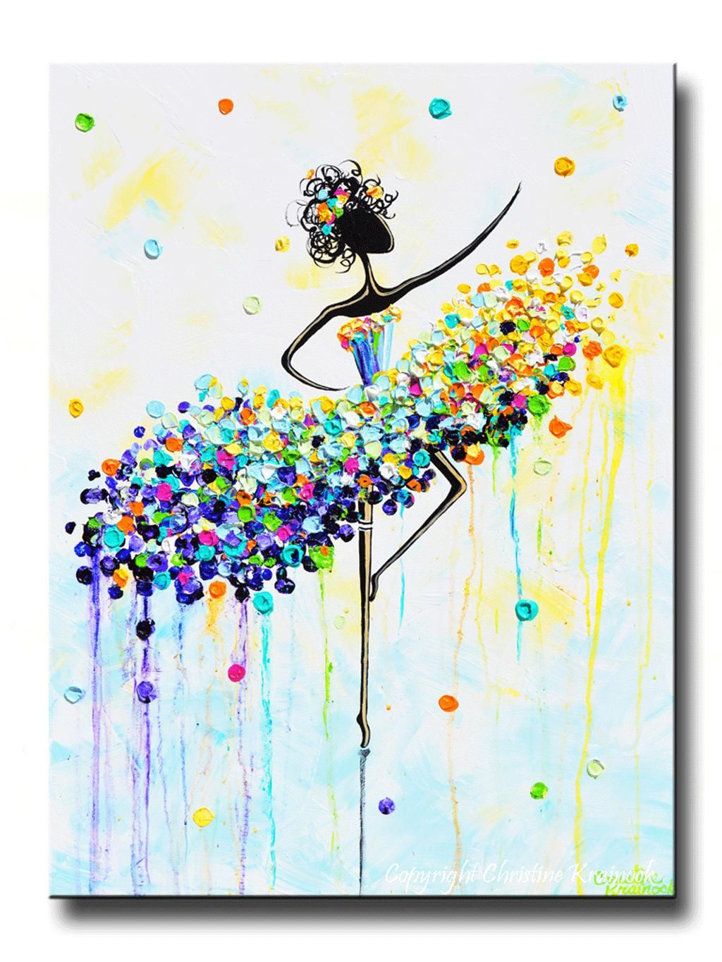 """GICLEE PRINT Art Abstract Dancer Painting Aqua Blue CANVAS Prints Colorful Wall Decor Sizes to 60"""" from contemporaryartbychristine.com."""