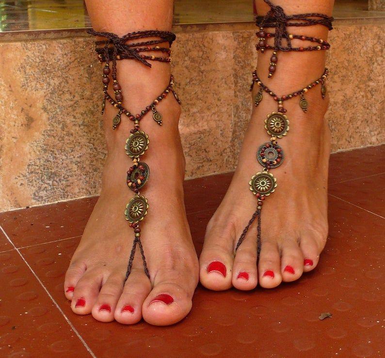 EARTH MANDALA brass barefoot SANDALS foot jewelry hippie | Etsy