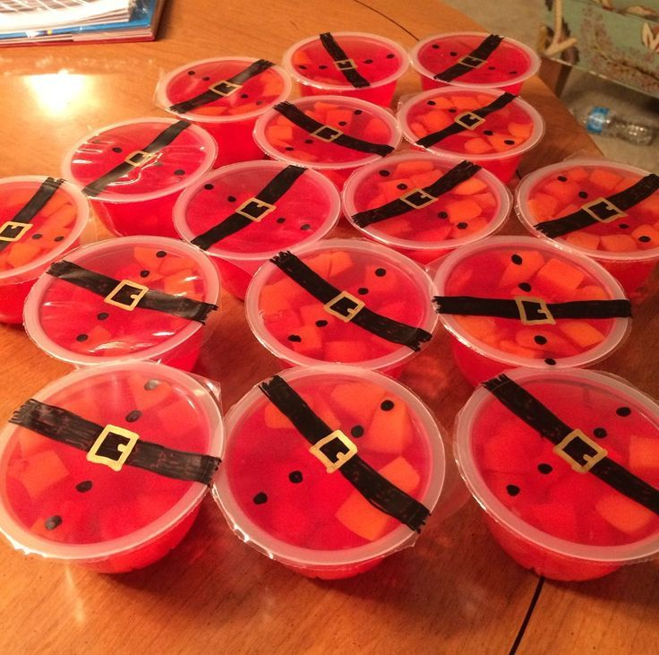 Charming Christmas Snack Ideas For School Parties Part - 13: Jello Fruit Cups, Santa Belts, Cute For Class Parties And Making A Healthy  Treat · School Party SnacksSchool ...