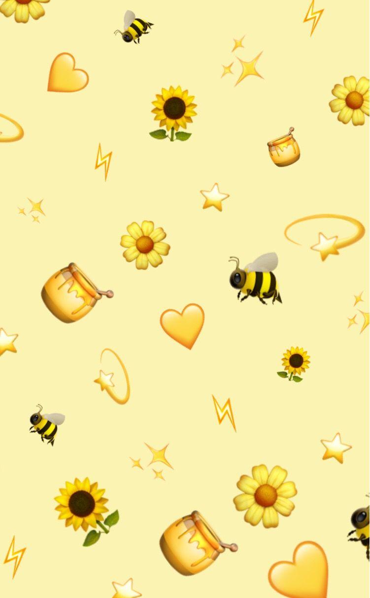 V2 Yellow Pattern Patternator Aesthetic Emoji Background Freetoedit Bees In 2020 Iphone Wallpaper Tumblr Aesthetic Cute Patterns Wallpaper Emoji Wallpaper
