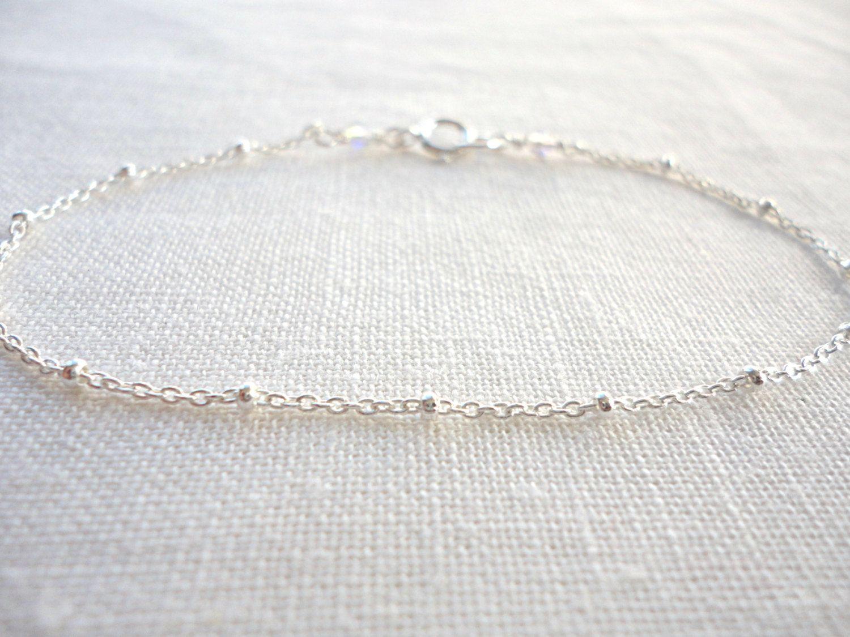 Simple sterling silver bracelet, satellite bracelet. $19.00, via ...