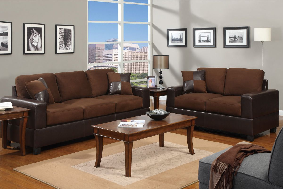 Dual Blend Chocolate Sofa And Loveseat Set