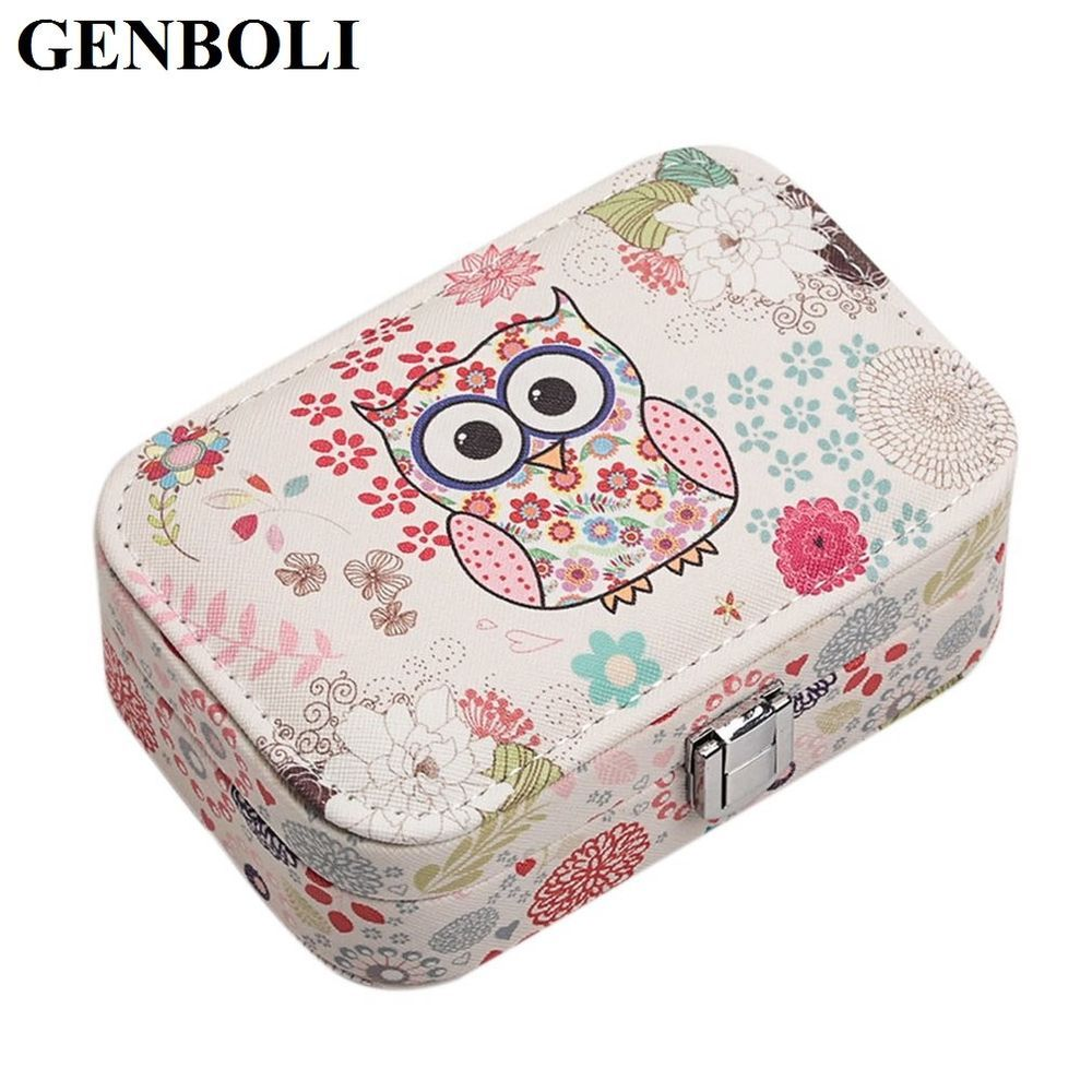Jewelry box portable leather carrying case leather