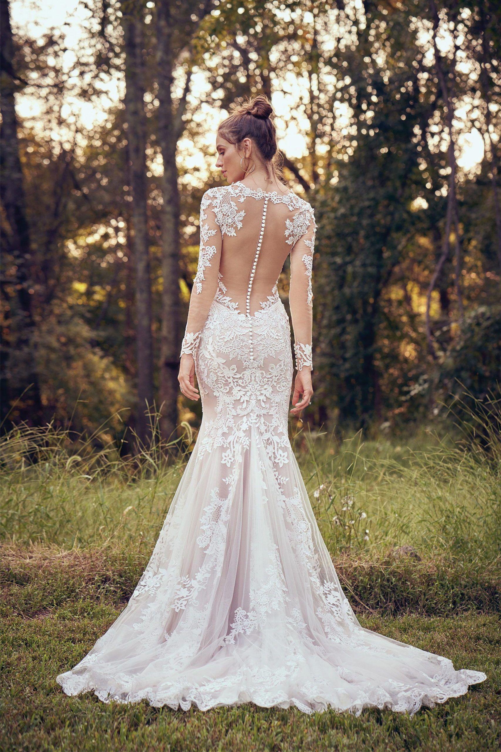 Bohemian wedding dress long sleeves boho bridal dress open